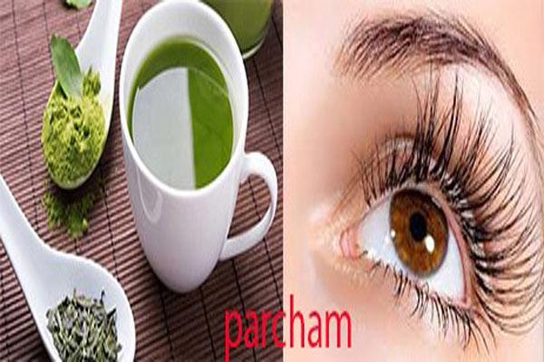 پرپشت شدن مژه با چای سبز